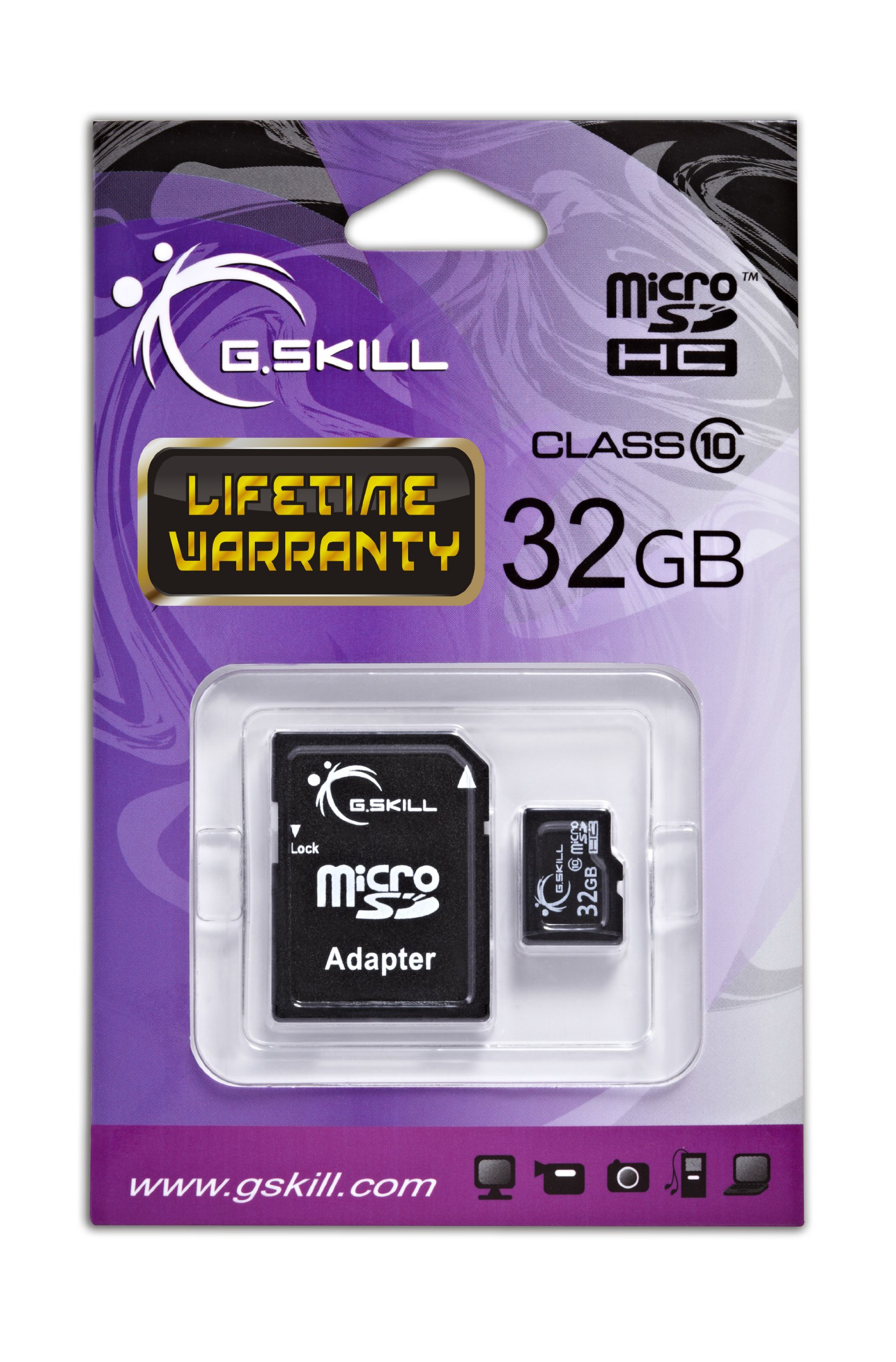 G. Skill class 6 microsdhc flash card with sd adapter (ff-tsdg32ga-c6) 2 ultra small storage for mobile phones, digital cameras, digital music players, gps, automotive recorders and camcorders sd adapter included only 10% the size of a standard sd card
