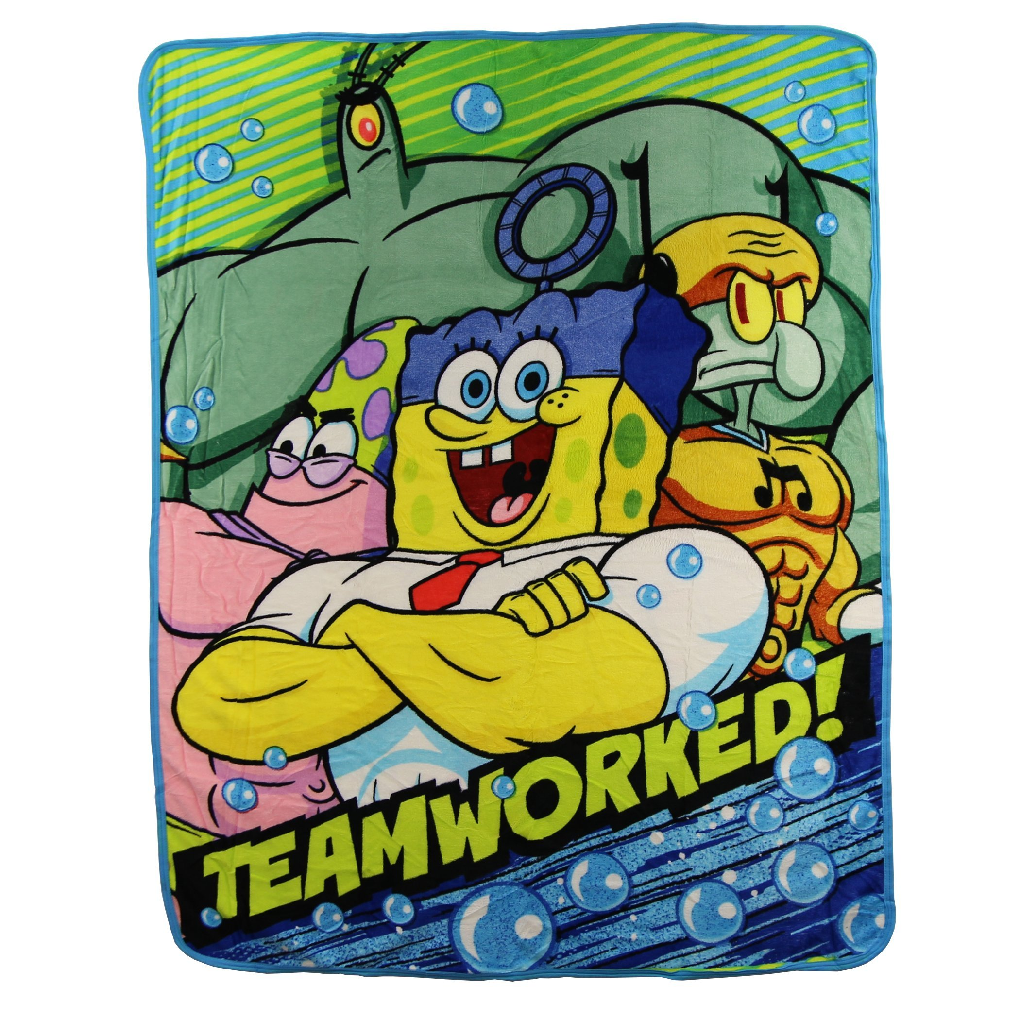 Kids Super Plush Sherpa Throw Blanket, 46x50-Inch (Spongebob Squarepants ''Teamworked'') by The Northwest Company