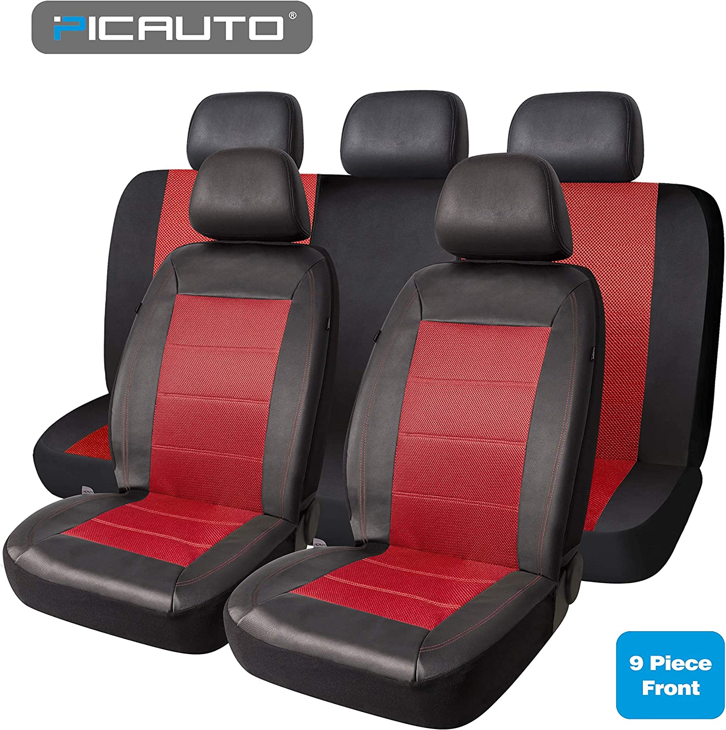 PIC AUTO Universal Fit Full Set Mesh and Leather Car Seat Cover(Red)