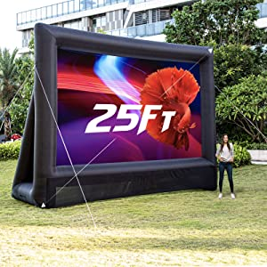 OZIS 25Ft Inflatable Movie Screen Outdoor - Blow up Mega Movie Projector Screen with 450W Blower Include - Supports Front and Rear Projection - Easy to Set Up