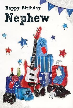 Feliz cumpleaños sobrino - Guitarra y presenta en relieve Tarjeta de felicitación de cumpleaños: Amazon.es: Oficina y papelería