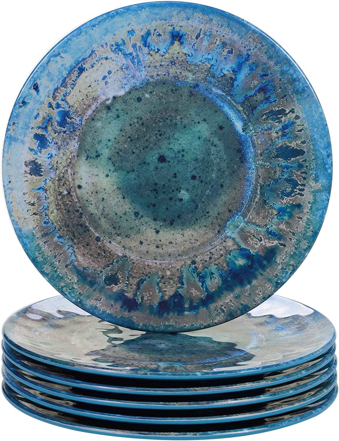 "Certified International Radiance Teal Melamine 8.5""Salad/Dessert Plate, Set of 6"
