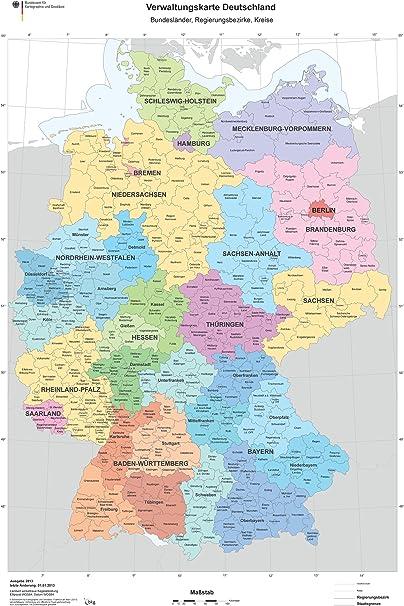 Xxl Din B1 1000 X 700 Mm Verwaltungskarte Deutschlandkarte