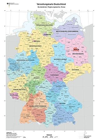Karte Bundesländer.Xxl Din B1 1000 X 700 Mm Verwaltungskarte Deutschlandkarte Bundesländer Ländergrenzen Regierungsbezirke Landkreise Poster K703