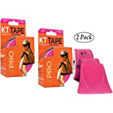KT Tape Pro Kinesiology Therapeutic Sports Tape, 20 Pre cut 10 inch Strips, Hero Pink (2 Pack)