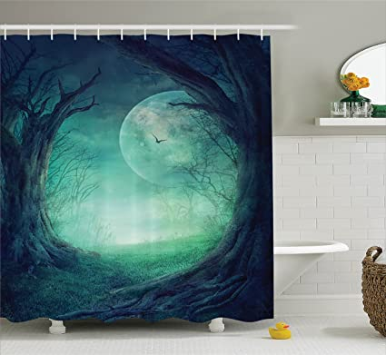 Ambesonne Fairy Shower Curtain Gothic Decor, Misty Horror Illustration Of  Autumn Valley With Woods Spooky