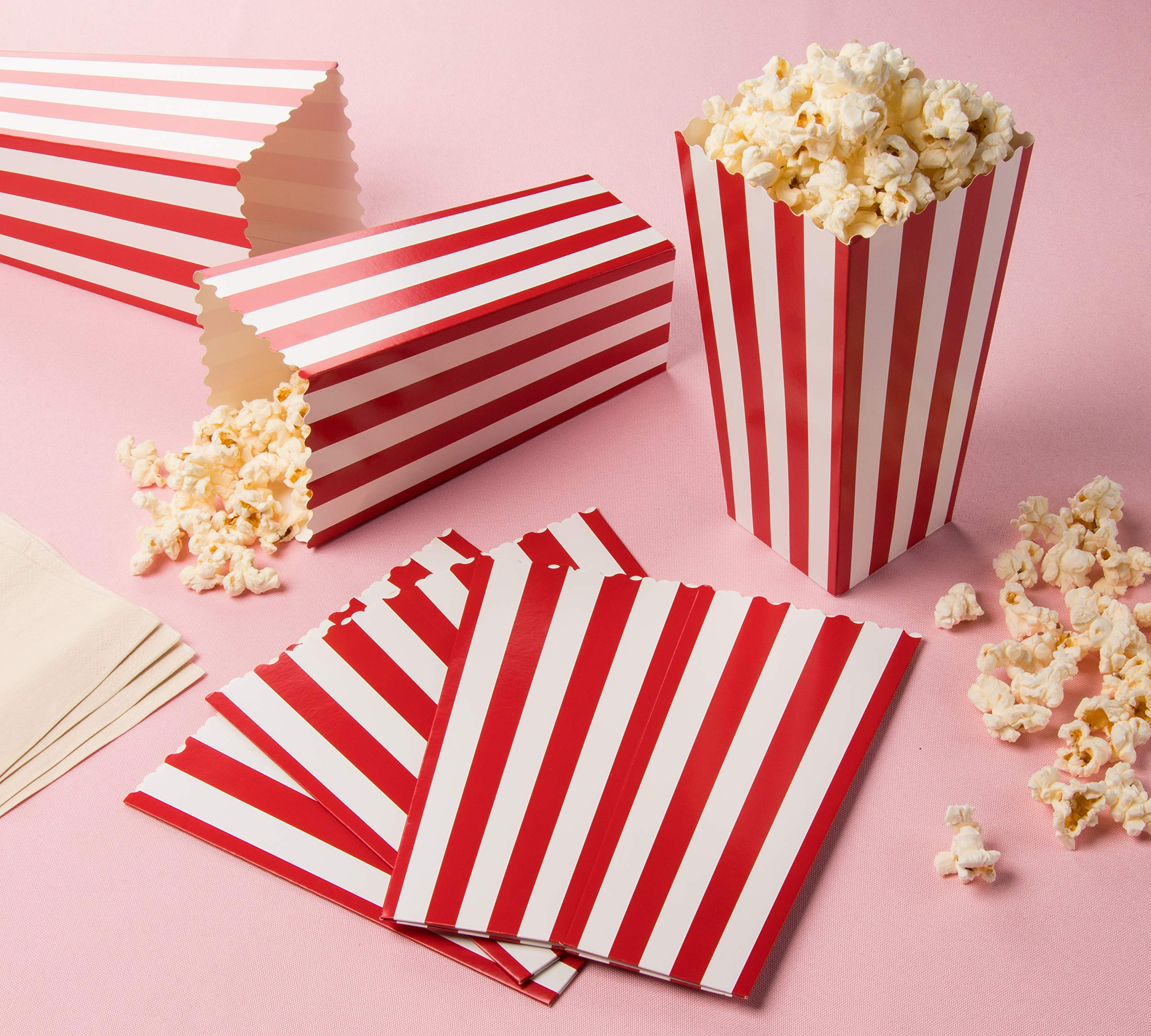 Set of 100 Popcorn Favor Boxes - Paper Popcorn Containers, Popcorn Party Supplies for Movie Nights, Movie-Themed Parties, Carnival Parties, Pirate Party, Red and White - 3.7 x 7.8 x 3.7 Inches by Blue Panda (Image #3)