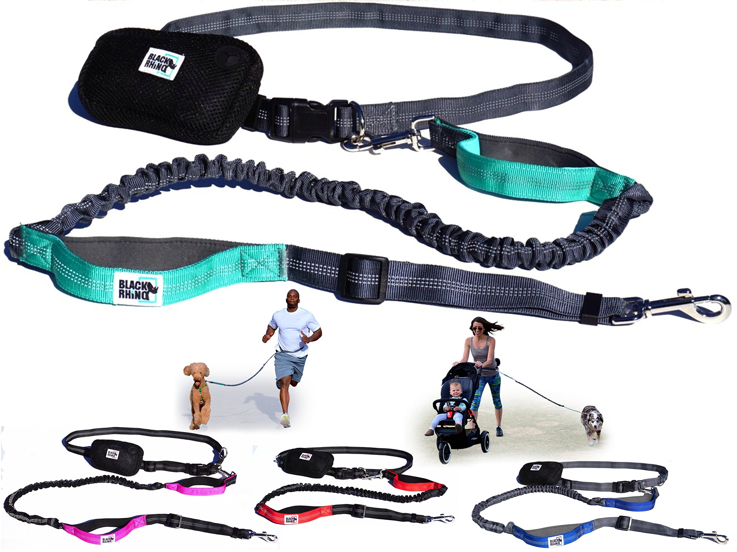 Black Rhino - Premium Hands Free Dog Leash for Running Walking Jogging & Hiking - Adjustable Length Dual Handle Bungee Leash Medium - Large Dogs Neoprene Padded Handles - Running Pouch Included Aqua by Black Rhino