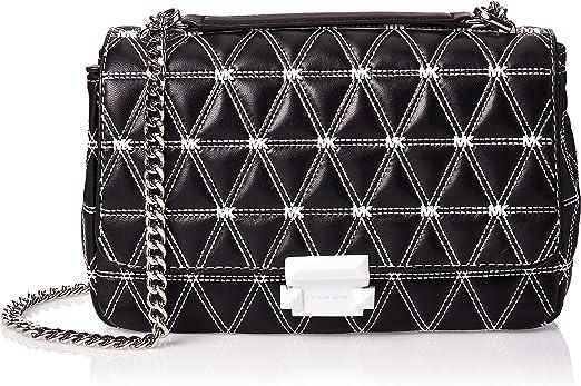 MICHAEL Michael Kors Sloan Logo Studded Large Chain Shoulder Bag, Black