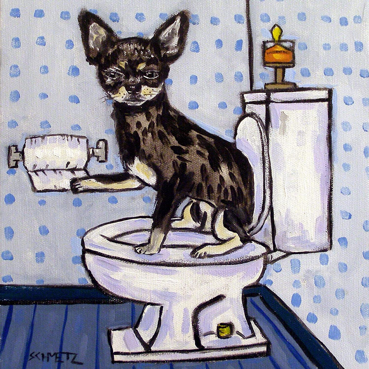 Chihuahua in the bathroom dog art tile coaster gift