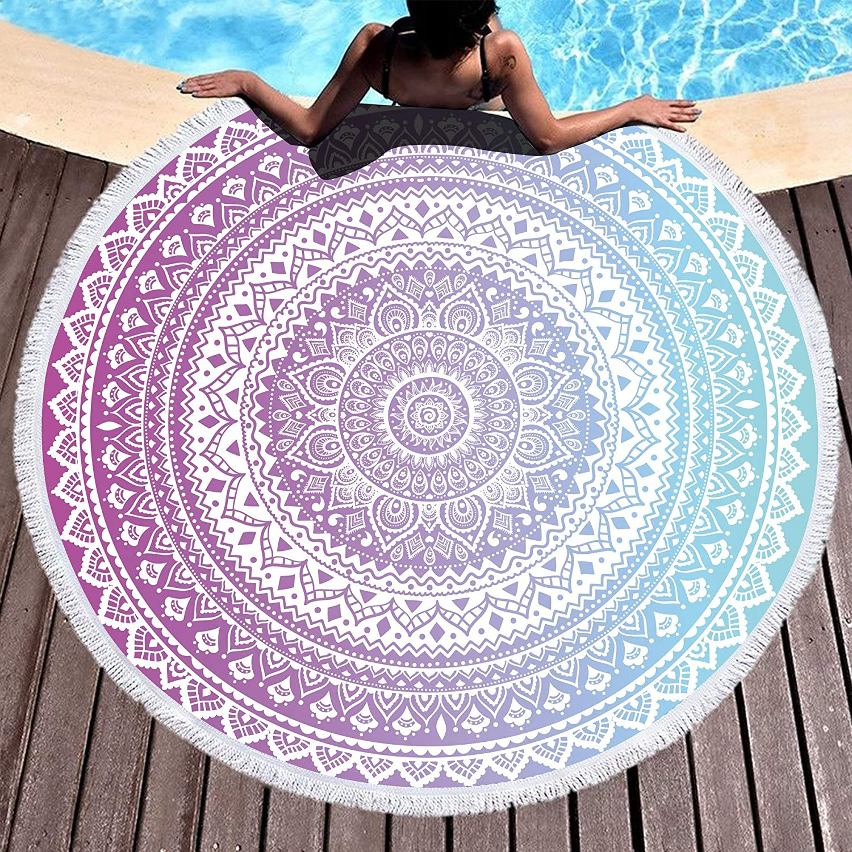 Yoga Mandala Round Tassels Beach Towel Microfiber Dry Quick mat Blue//SkyBlue