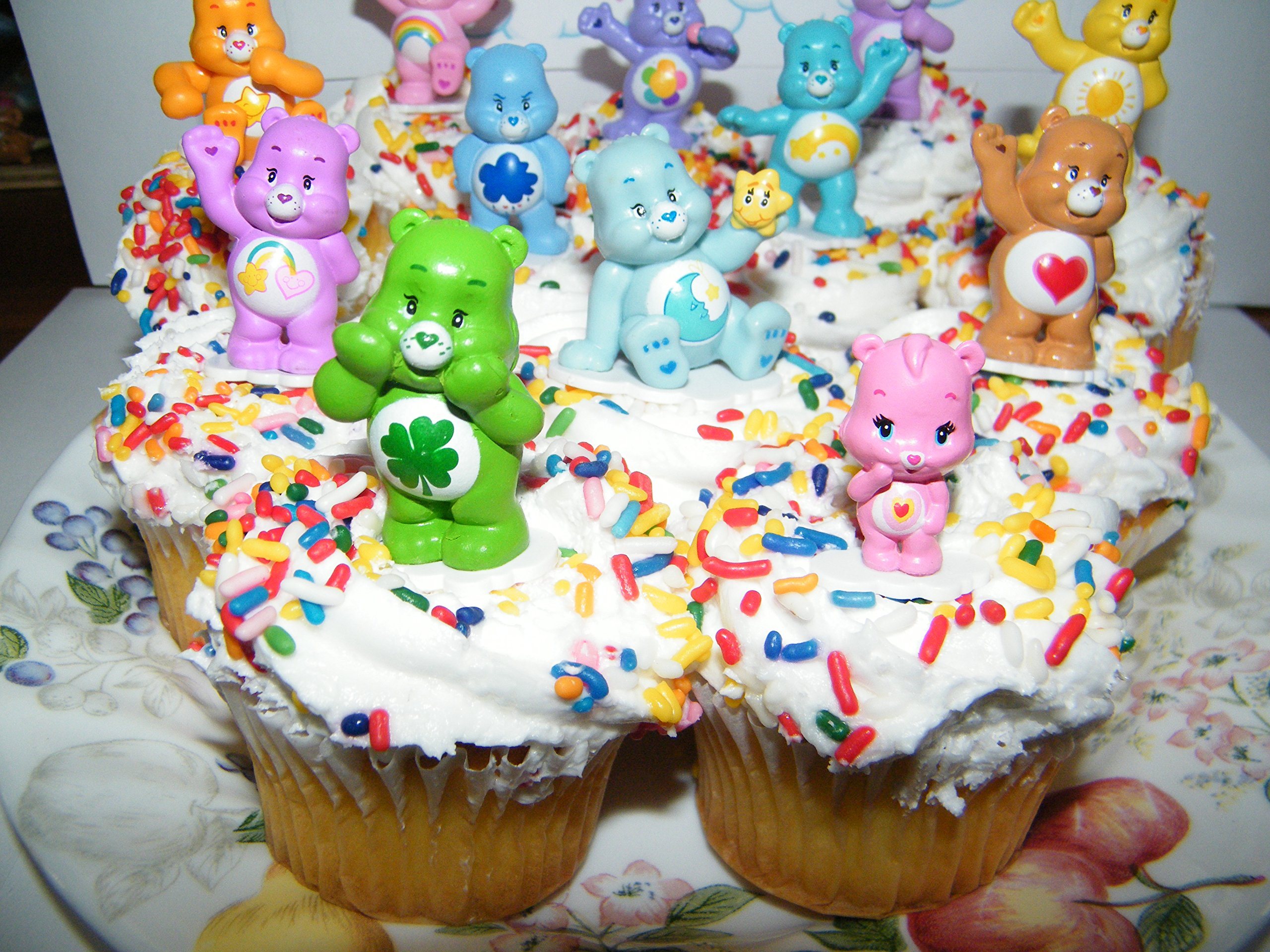 Care Bears Cupcake Topper Birthday Party Decorations Set of 12 Figures with Share Bear, Wonderheart Bear, Grumpy Bear, Wish Bear and Many More! by Care Bears (Image #2)