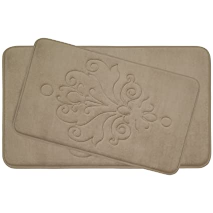 c42b822f5b4 Amazon.com  Reve 2-Piece Micro Plush Memory Foam Bath Mat Set with  BounceComfort Technology