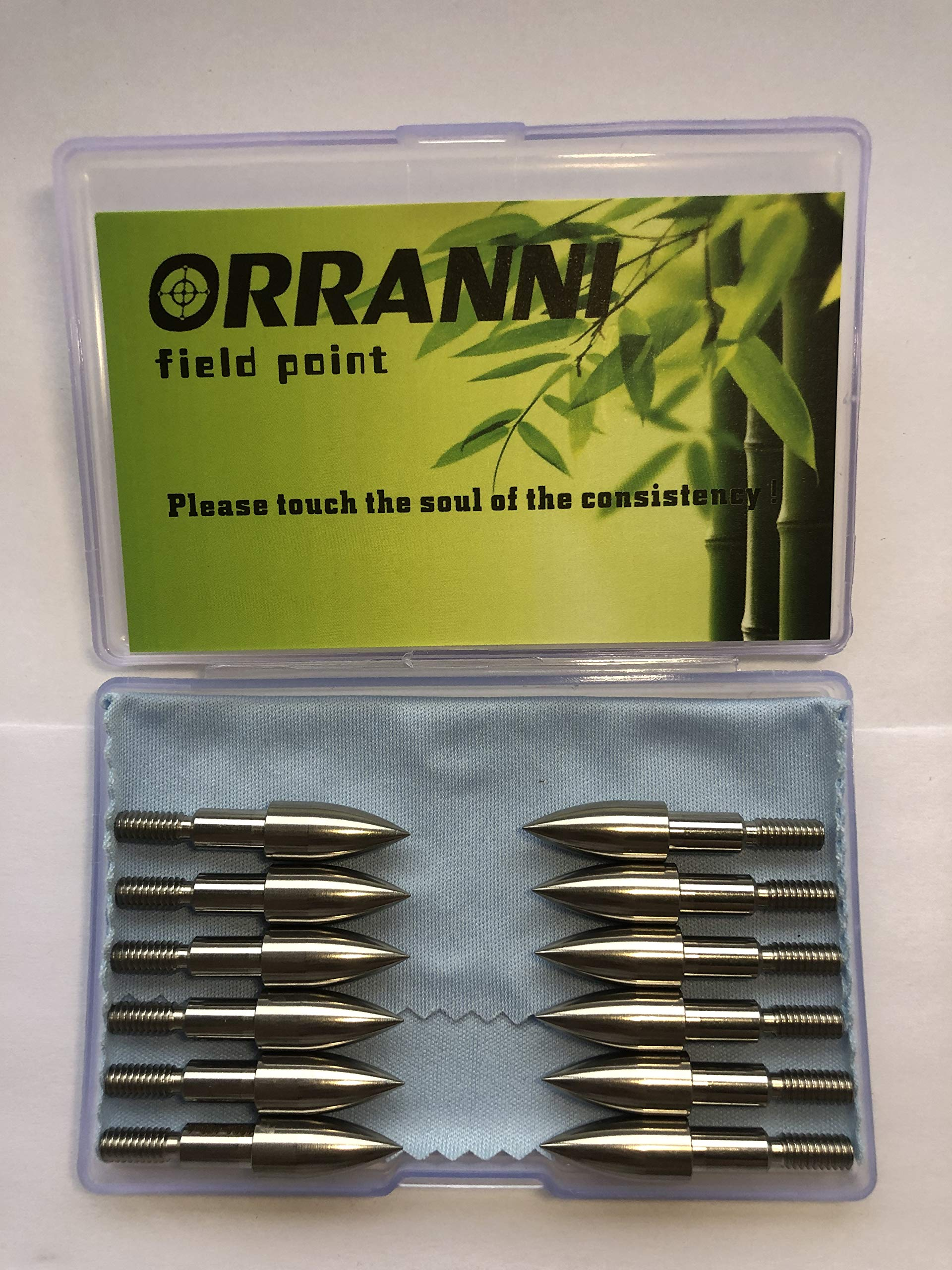ORRANNI Archery Field Points,19/64'' Outside Diameter,100 Grains,Stainless Steel 8-32 UNC Screw in Archery Field Tips(1 Dozen) by ORRANNI