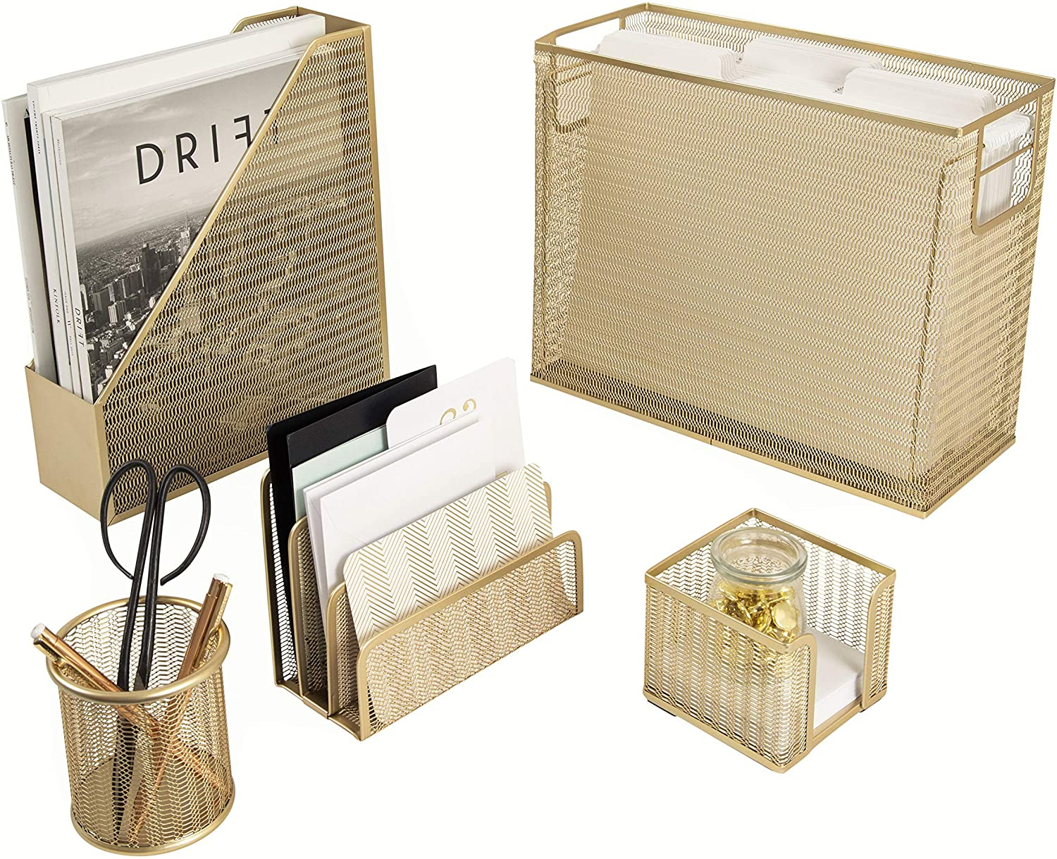 Blu Monaco 5 Piece Cute Office Supplies Gold Desk Organizer Set - with Desktop Hanging File Organizer, Magazine Holder, Pen Cup, Sticky Note Holder, Letter sorter - Gold Desk Accessories