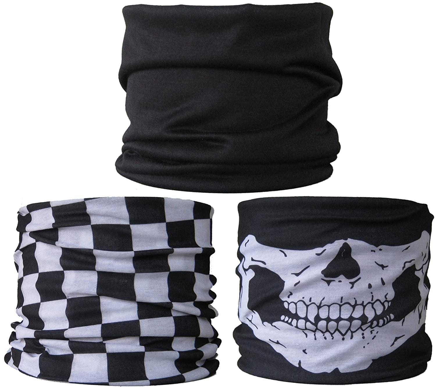 (3 PACK) Multifunctional Headwear... Plain Black / Black & White Check / Skull Jaw