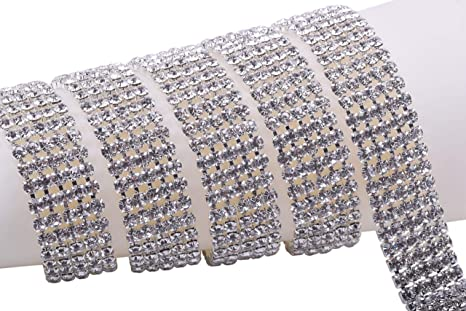 BENECREAT 2 Rows 2 Yards Silver Crystal Rhinestone Close Chain Trim 6mm Rhinestone Cup Chain for Craft Making and Wedding Party Favor Decoration