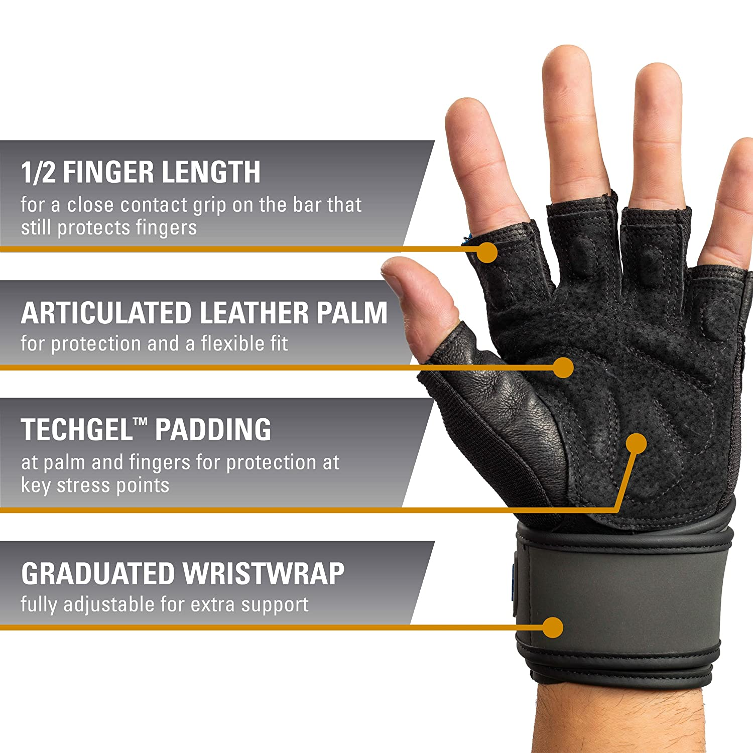 bda48e46a50 Amazon.com   Harbinger Training Grip Wristwrap Weightlifting Gloves with  TechGel-Padded Leather Palm (Pair)