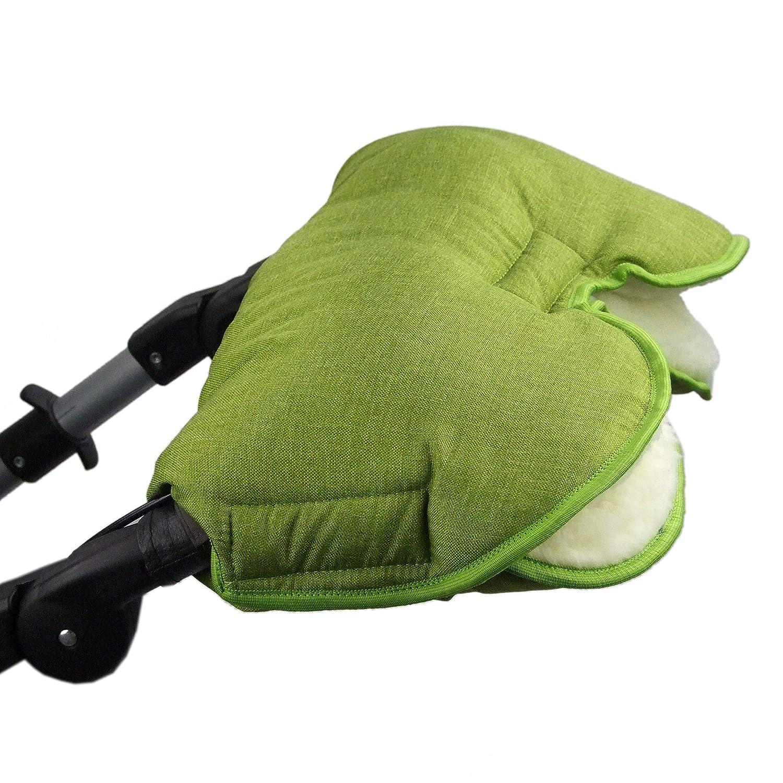 BAMBINIWELT universaler Muff/Handwärmer für Kinderwagen, Buggy, Jogger mit Wolle, meliert HELLGRÜN meliert HELLGRÜN