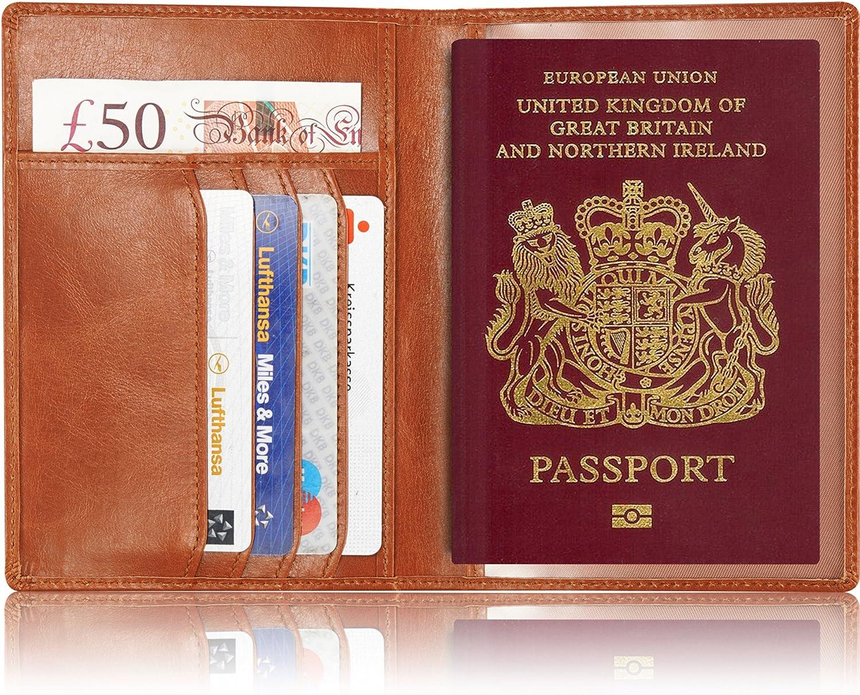 Portefeuilles Passeport Prot/ège-passeports Couverture Blocage RFID Porte-Cartes en Cuir Organisateur de Documents de Voyage Knight-Azurite