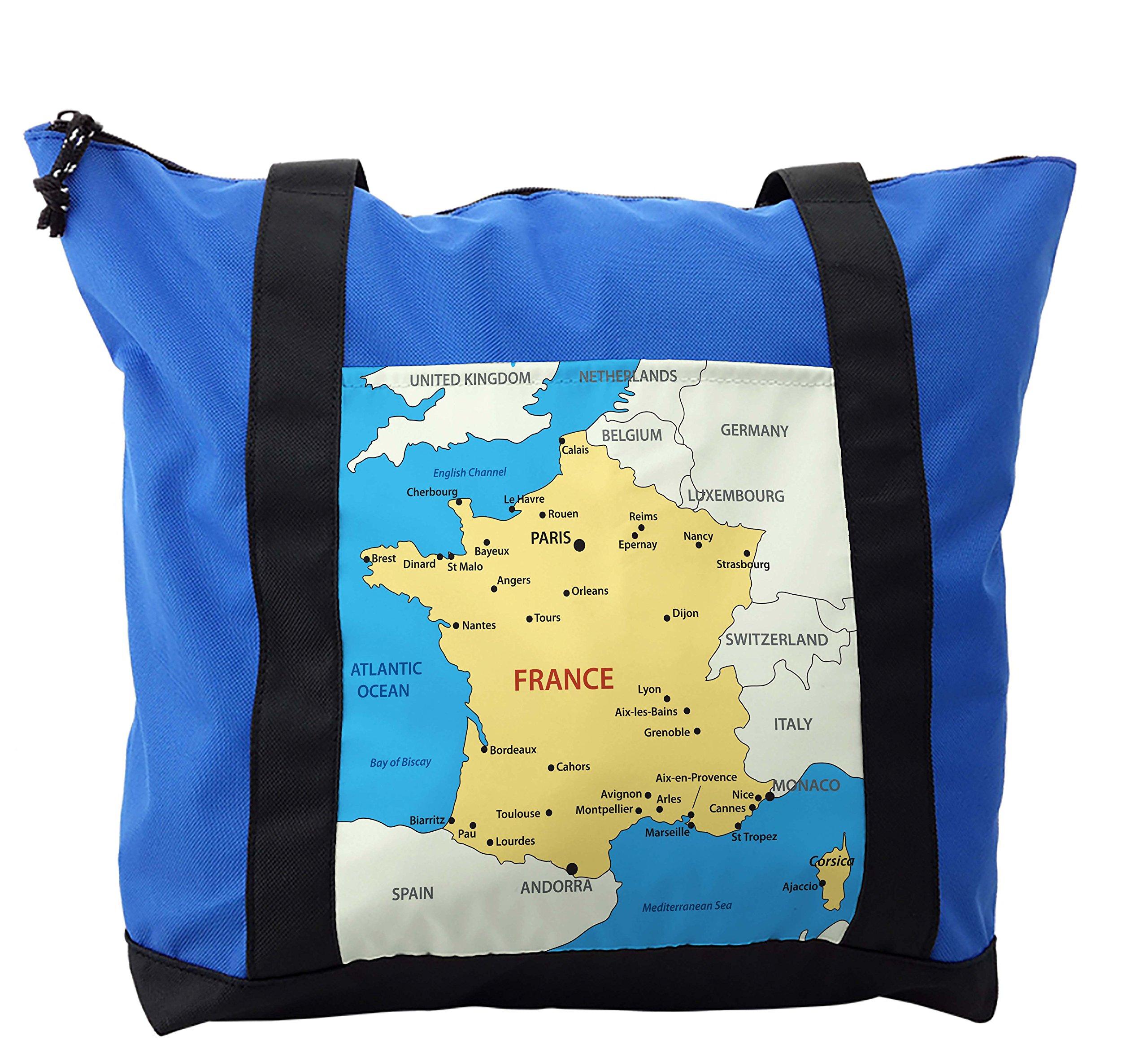Lunarable Wanderlust Shoulder Bag, France Mediterranean Sea, Durable with Zipper
