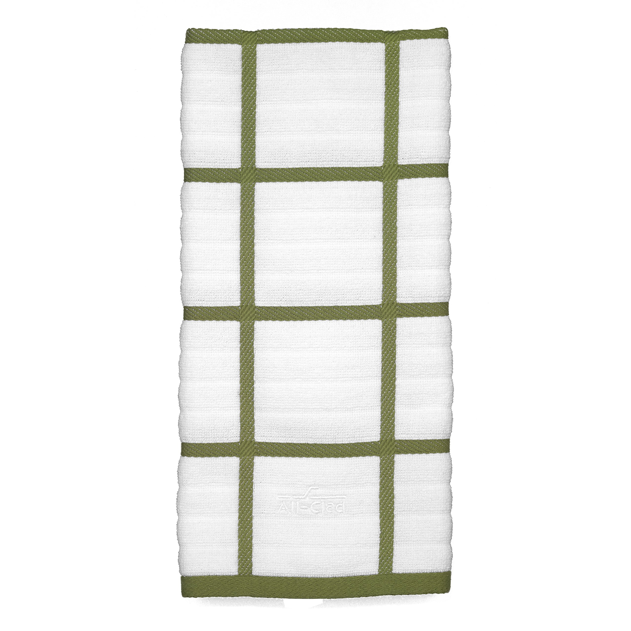 All Clad Textiles 100-Percent Combed Terry Loop Cotton Kitchen Towel, Oversized, Highly Absorbent and Anti-Microbial, 17-inch by 30-inch, Checked, Sage Green