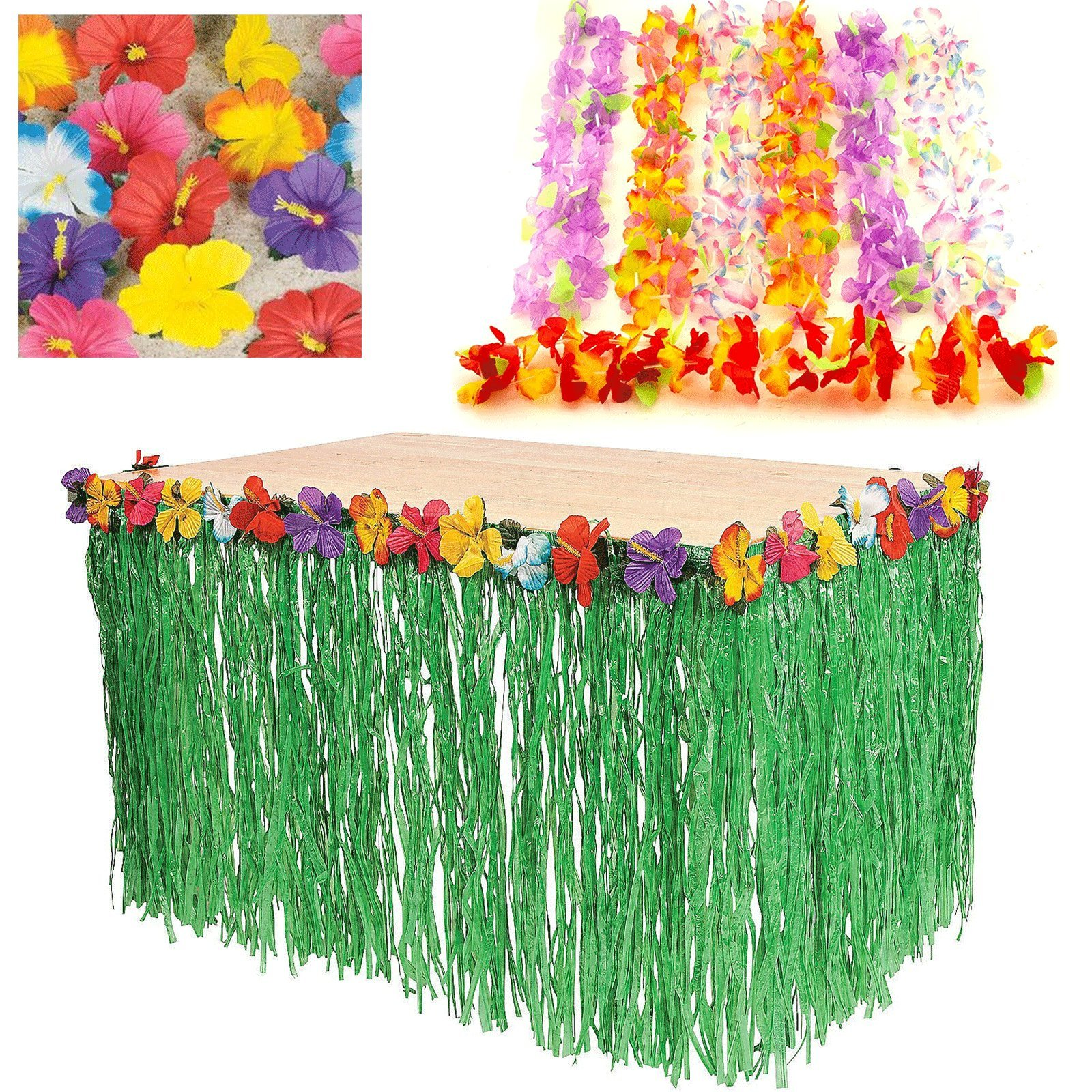 Adorox Luau Tropical Hawaiian Party Decoration Set Including 9 ft Table Skirt, 48 pcs Simulated Silk Flower Hula Leis Necklaces, 24 Hibiscus Flower