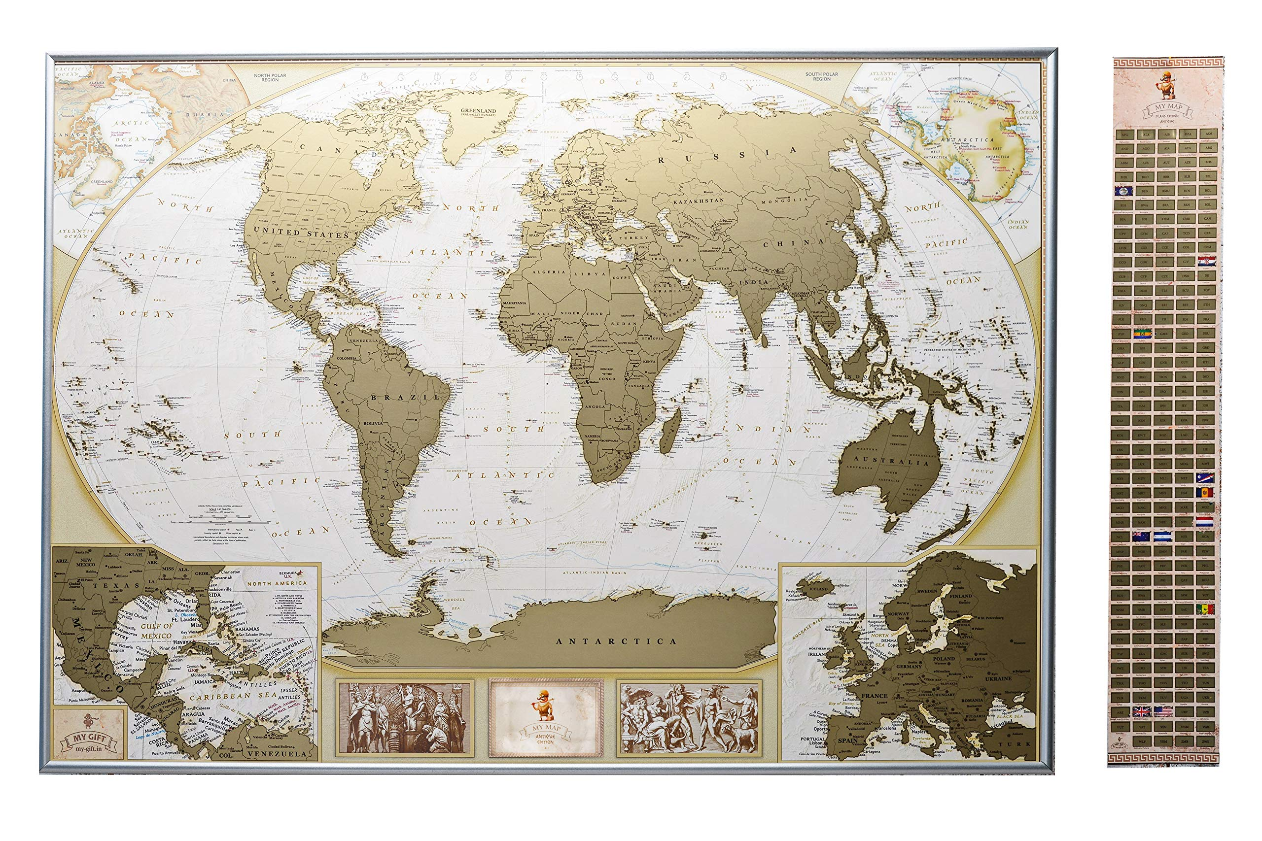 MyMap Deluxe Large World Scratch Off Map w/ EnLarge Europe and Caribbeans Map | 35 x 25 inc Push Pin Travel Map To Mark 10.000 Cities  | Anniversary Birthday Idea