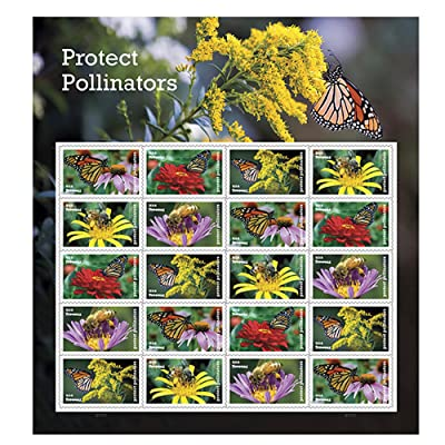 Protect Pollinators Sheet of 20 Forever USPS First Class one Ounce Postage Stamps Environment Wedding Party (1 Sheet): Office Products