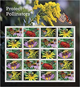 Protect Pollinators Sheet of 20 Forever USPS First Class one Ounce Postage Stamps Environment Wedding Party (1 Sheet)