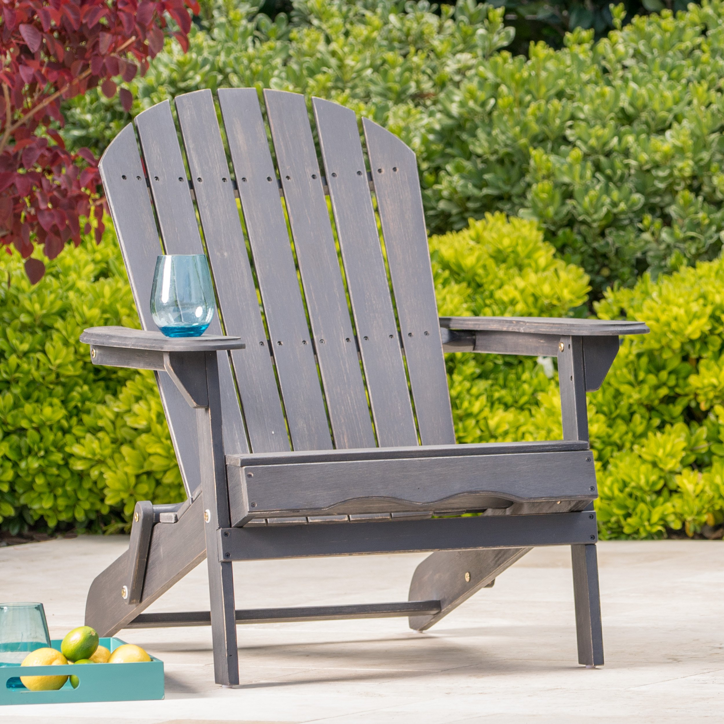 Hillary Dark Grey Acacia Wood Folding Adirondack Chair (1) by Christopher Knight Home