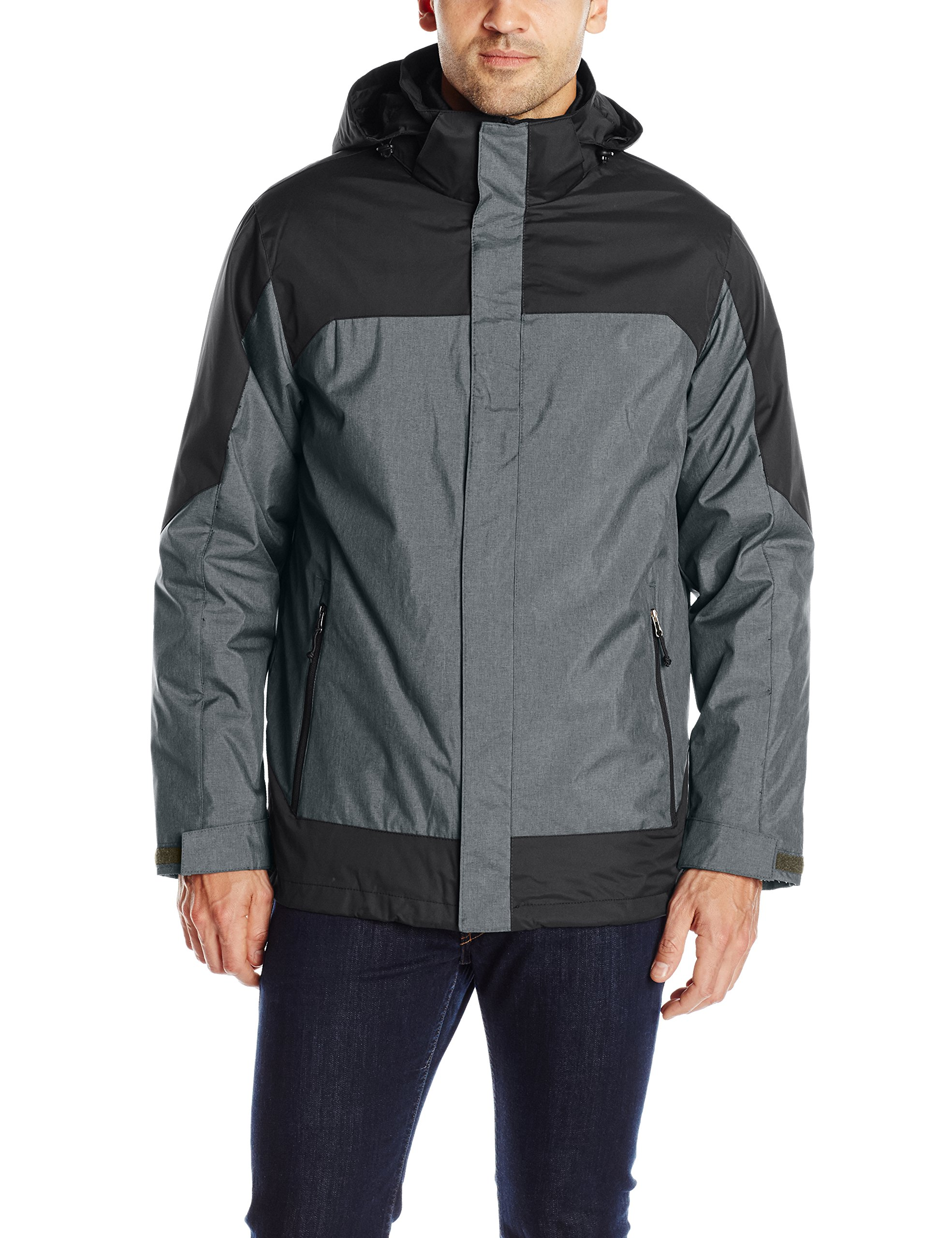 32Degrees Weatherproof Men's 3 in 1 Systems Jacket Colorblock, Charcoal Melange/Black, X-Large by 32 DEGREES