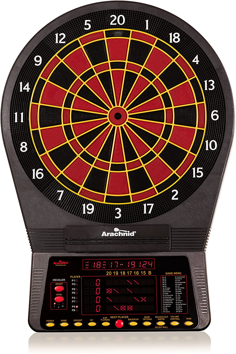 Arachnid Cricket Pro 800 Electronic Dartboard with NylonTough Segments for Improved Durability and Playability and Micro-thin Segment Dividers for ReducedBounce-outs : Electronic Dartboard : Sports & Outdoors