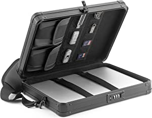 Vaultz Locking Deluxe Tablet and Laptop Case, Tactical Black, VZ03760