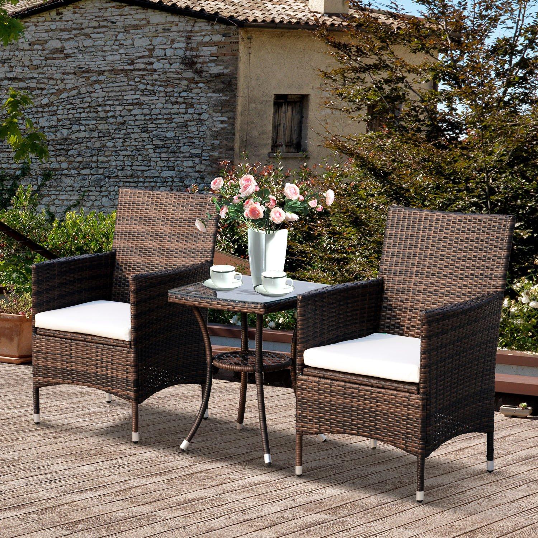 Outsunny Conjunto de 1 Mesa 2 Sillas Muebles Ratán para Jardín Exterior Patio Terraza con Cojín Poli Ratán Marco Metal Color Marrón