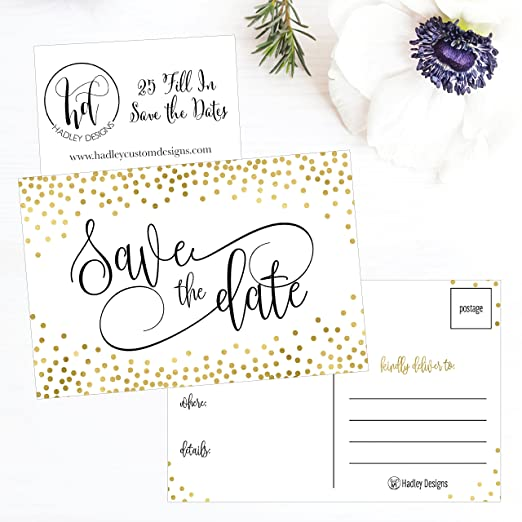 b5344c58b2 Amazon.com: 25 Elegant Gold Dots Save The Date Cards For Wedding,  Engagement, Anniversary, Baby Shower, Birthday Party, Save The Dates  Postcard Invitations ...