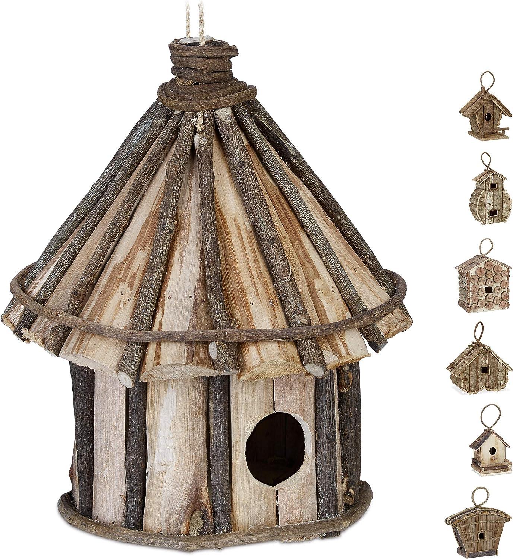Relaxdays Casa para pájaros para Colgar, Madera Natural, Decoración de Exterior, 25x20 cm, 1 Ud, Marrón