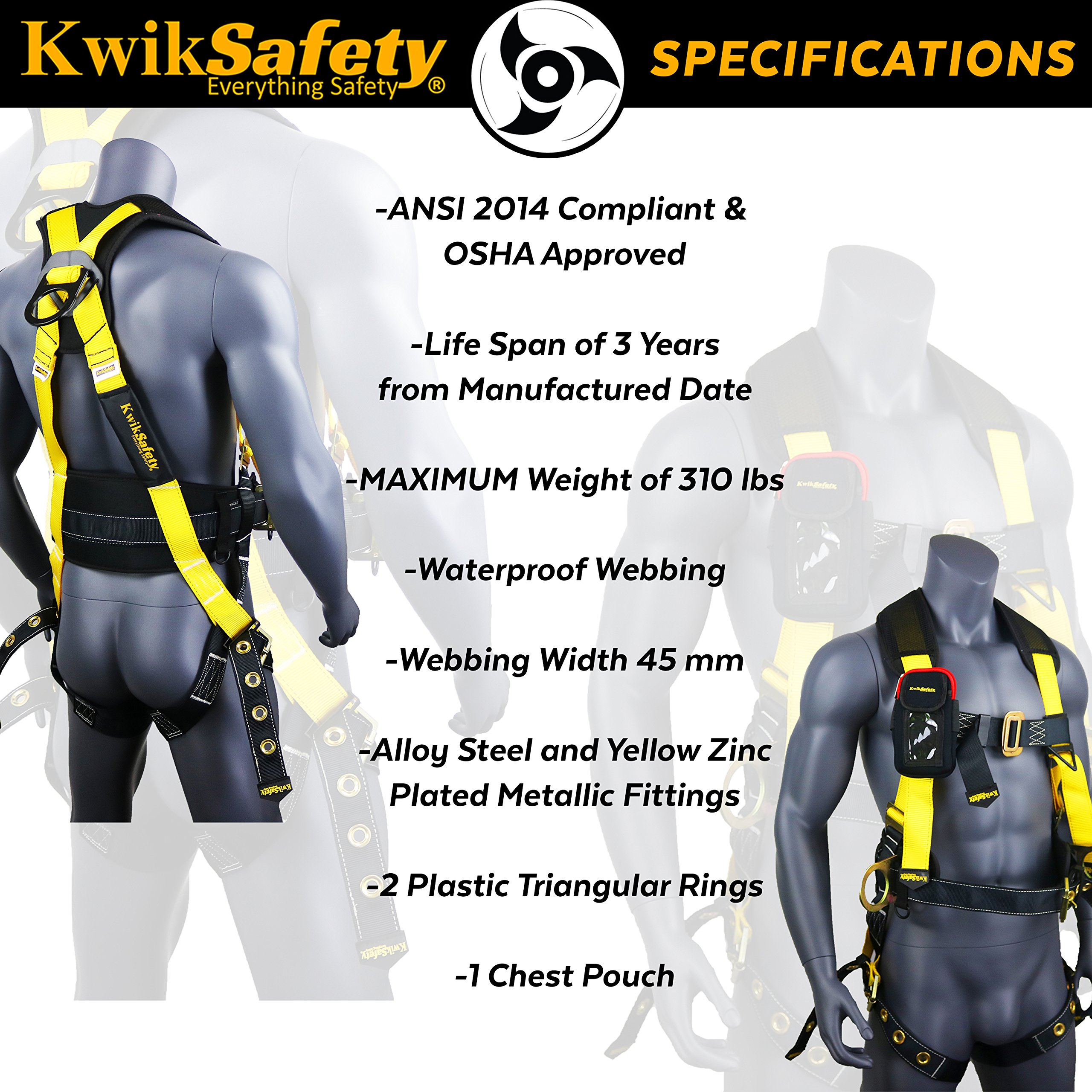 KwikSafety (Charlotte, NC) TYPHOON | ANSI Fall Protection Full Body Safety Harness | Personal Protective Equipment | Dorsal Ring Side D-Rings Grommet Leg Straps Tool Lanyard Bolt Pouch, Construction by KwikSafety (Image #6)