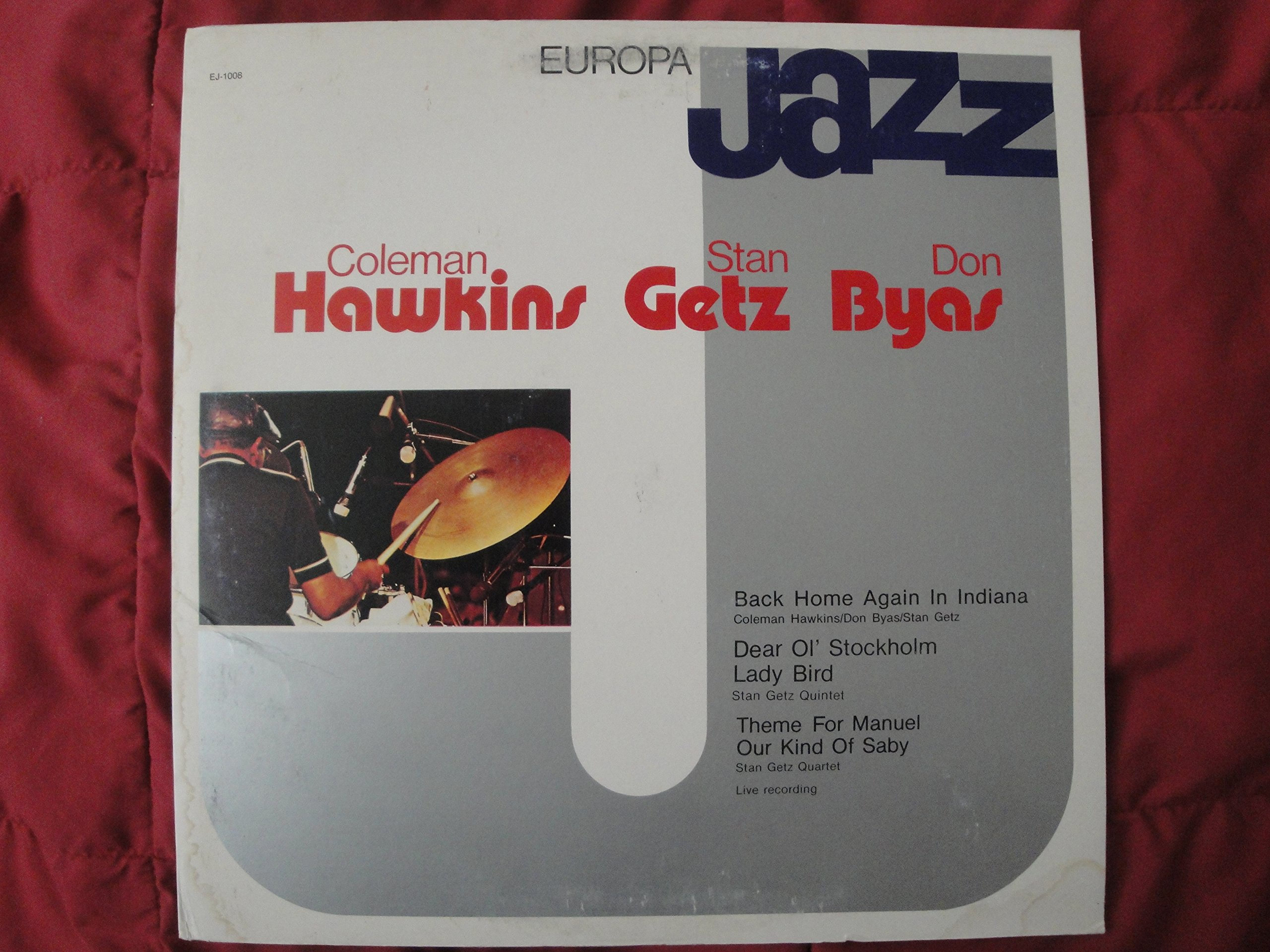 Europa Jazz with Coleman Hawkins, Stan Getz, Don Byas 1981 Made in Italy Wonderful Jazz Vinyl Lp EJ-1008 ''Back Home Again in Indiana'', ''Dear Ol' Stockholm Lady Bird'' ''Theme For Manuel Our Kind Of Saby'' Live Recording Ex