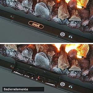 EWT Kamineinsatz Bedienelemente zum dimmen der Flammen
