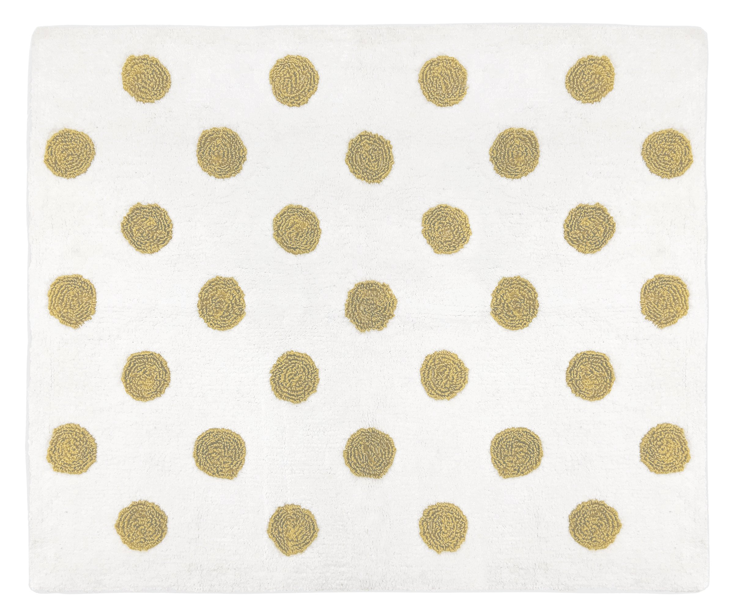 Sweet JoJo Designs Gold and White Polka Dot Accent Floor Rug Or Bath Mat for Peach Watercolor Floral Collection