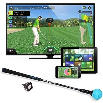 PhiGolf Unisexe Mobiles et Home Smart Golf Jeu Simulateur avec Swing Stick, Noir