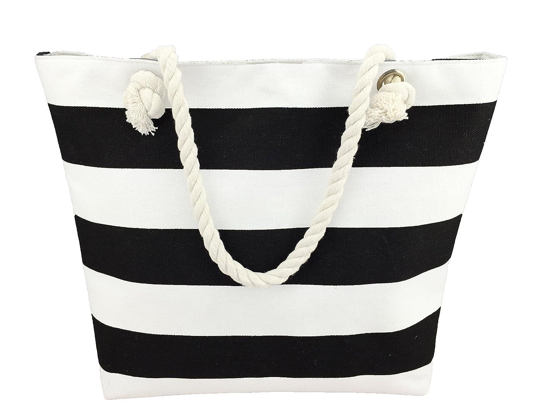 Amazon.com: Beach bag / Large Striped/ Canvas Beach bag / Tote Bag ...
