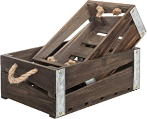 MyGift Rustic Brown Wood Nesting Storage Crates with Rope Handles, Open Top Storage Boxes, Set of 2