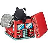 Relaxdays Coffre à jouets similicuir boîte à jouets couvercle tabouret pouf enfant pliable H x l x P: 32 x 48 x 32 cm capacité 37 L, pompiers