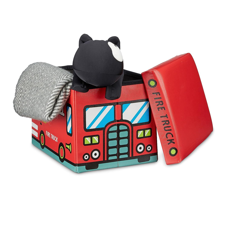 Relaxdays Spielzeugkiste Feuerwehr