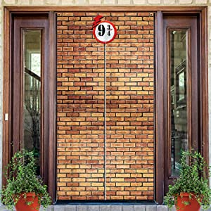 Brick Wall Backdrop 9 And 3/4 Cross Station, Brick Wall Party Backdrop Door Curtains for Wizard Wall Decoration Magical Wizard Costume, Secret Passage To The Magic School, Brick Background (Brown)