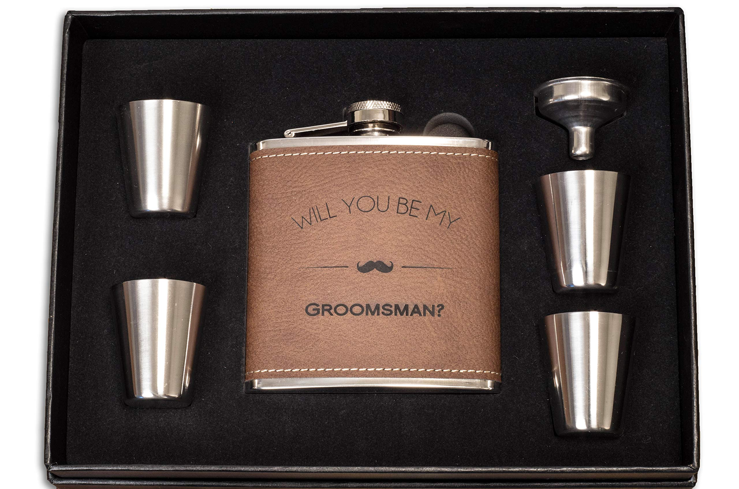 Will You Be My Groomsman Engraved Gift Flask - Asking Groomsmen Gifts- For Men, Brown Whiskey Flasks For Proposal - Extra Thick 5mil #304 Stainless Steel, Laser Engraved, Flask, Funnel & Shot Cups Set