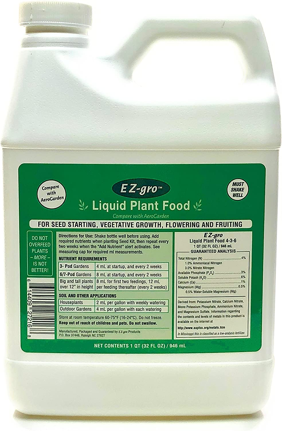 Liquid Plant Food for Aerogardens | Liquid Fertilizer with Hydroponic Nutrients | Liquid Fertilizer for Plants in Aerogarden Sponges | Aerogarden Liquid Food Compatible | 1 QT (32 oz)