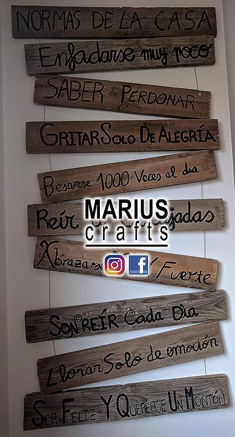 MariusCrafts Cartel Madera Decorativo, Frases Personalizadas ...